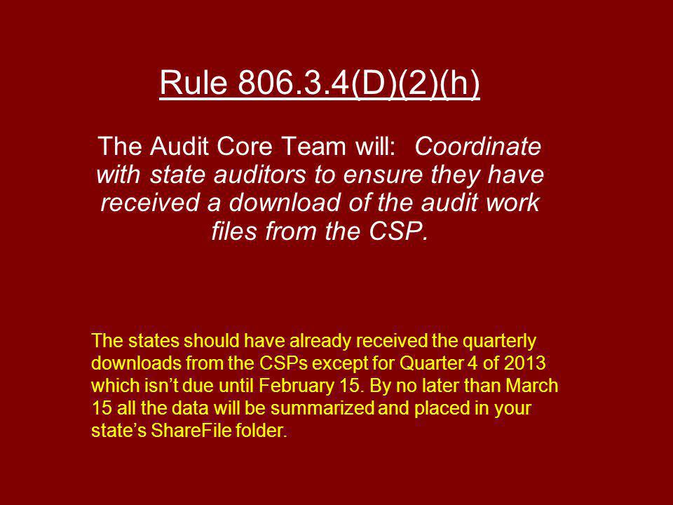 Rule (D)(2)(h) The Audit Core Team will: Coordinate with state auditors to ensure they have received a download of the audit work files from the CSP.