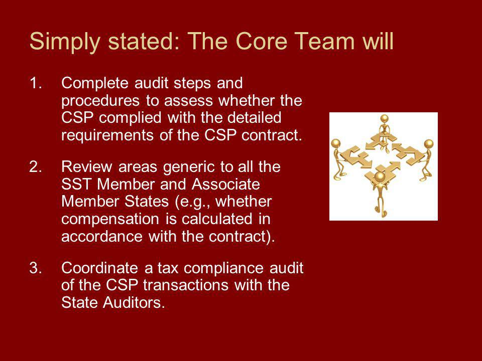 Simply stated: The State Auditors will 1.Complete the tax compliance audit steps as part of the CSP contract audit that are specifically related to their state (e.g., whether the transactions were taxed correctly).