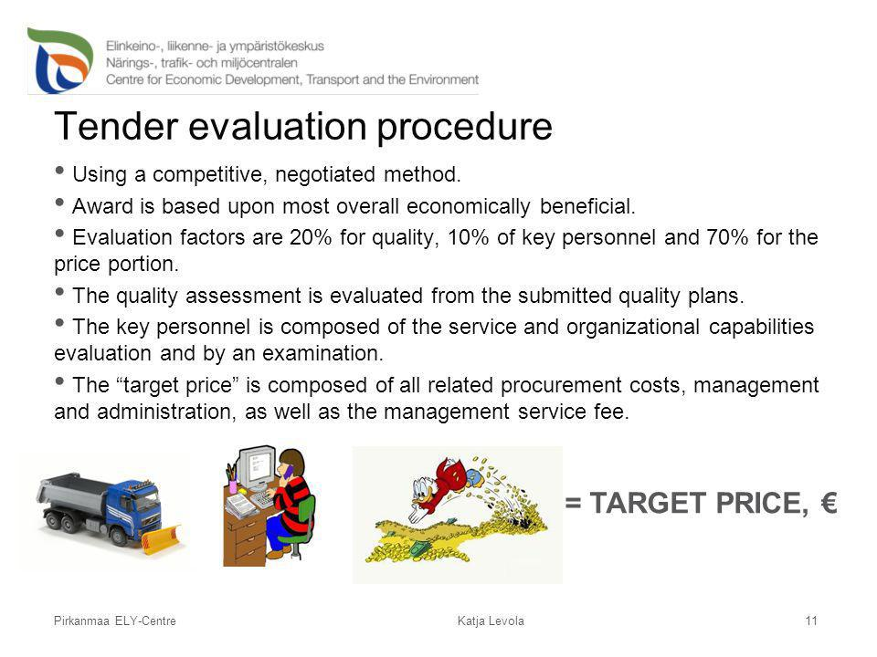 Pirkanmaa ELY-Centre Tender evaluation procedure Using a competitive, negotiated method. Award is based upon most overall economically beneficial. Eva