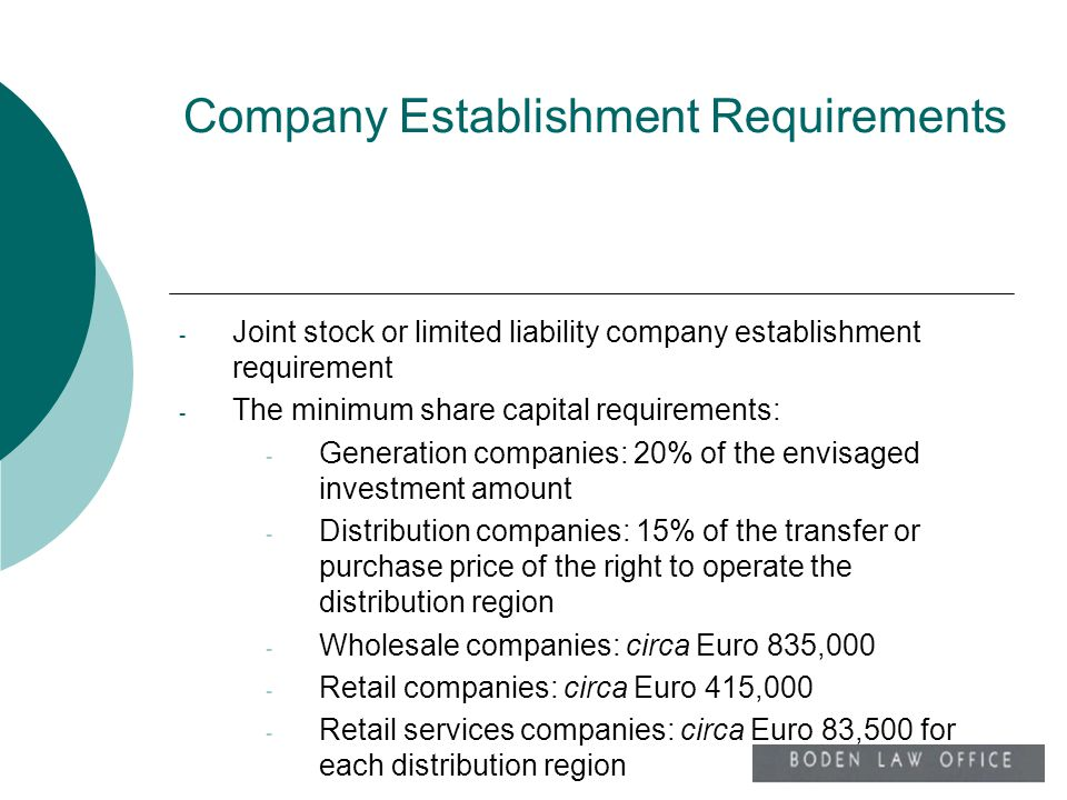 Company Establishment Requirements - Joint stock or limited liability company establishment requirement - The minimum share capital requirements: - Ge