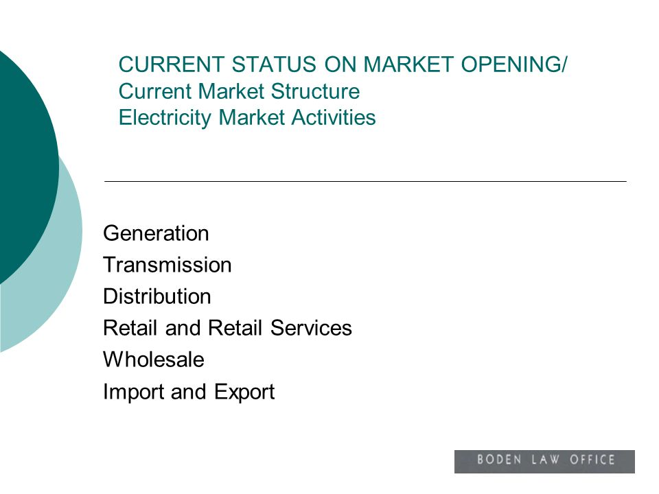 CURRENT STATUS ON MARKET OPENING/ Current Market Structure Electricity Market Activities Generation Transmission Distribution Retail and Retail Servic