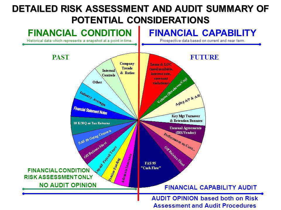 DCAA Services - Financial Condition/Capability Financial Condition Risk Assessment – focuses on current condition based on existing financial data, past trends, ratios – Performed annually Financial Capability Audit – focuses on contractors future capabilities to perform contracts based on projected business, future cash flows, lines of credit to sustain them, etc – Performed if Financial Condition Risk Assessment reveals problems