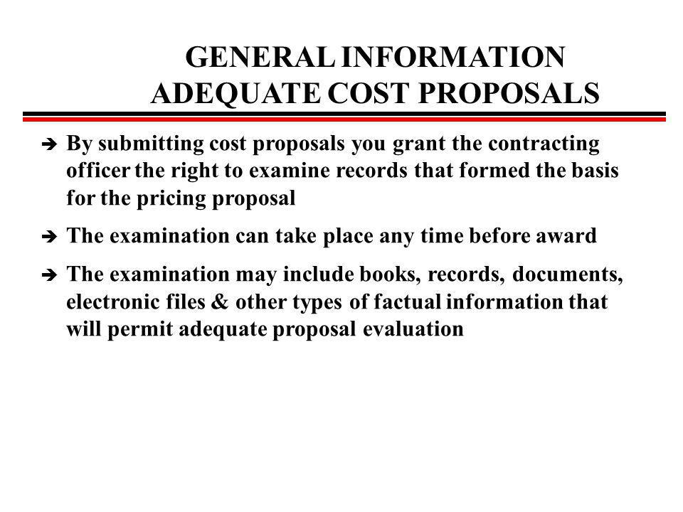What is a cost proposal or submission.