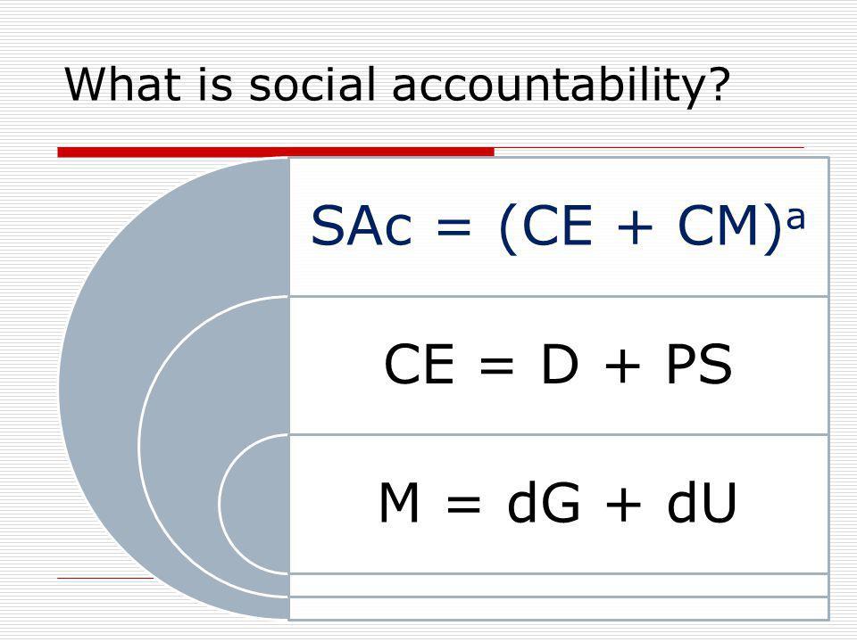 SAc = (CE + CM) a CE = D + PS M = dG + dU What is social accountability