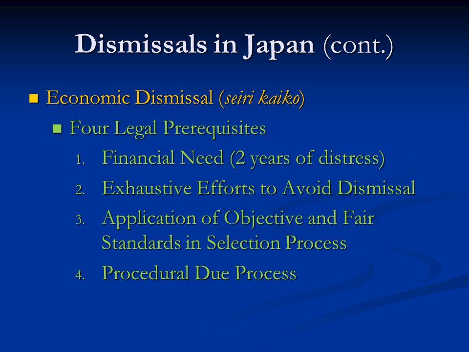 Dismissals in Japan (cont.) Economic Dismissal (seiri kaiko) Economic Dismissal (seiri kaiko) Four Legal Prerequisites Four Legal Prerequisites 1.
