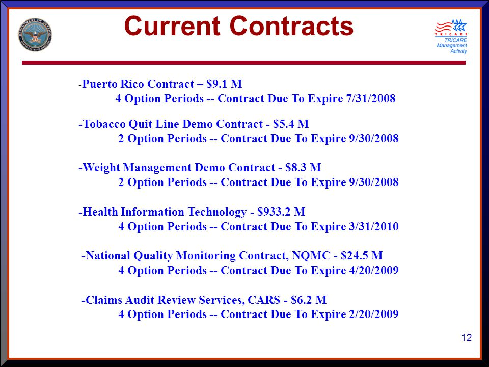 12 - Puerto Rico Contract – $9.1 M 4 Option Periods -- Contract Due To Expire 7/31/2008 -Tobacco Quit Line Demo Contract - $5.4 M 2 Option Periods -- Contract Due To Expire 9/30/2008 -Weight Management Demo Contract - $8.3 M 2 Option Periods -- Contract Due To Expire 9/30/2008 -Health Information Technology - $933.2 M 4 Option Periods -- Contract Due To Expire 3/31/2010 -National Quality Monitoring Contract, NQMC - $24.5 M 4 Option Periods -- Contract Due To Expire 4/20/2009 -Claims Audit Review Services, CARS - $6.2 M 4 Option Periods -- Contract Due To Expire 2/20/2009 Current Contracts