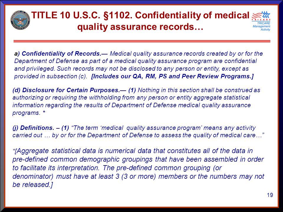 19 TITLE 10 U.S.C. §1102.
