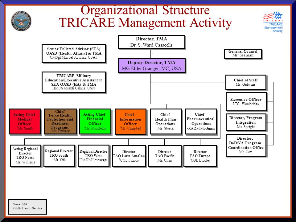 Organizational Structure TRICARE Management Activity Acting Chief Medical Officer 1 Dr.