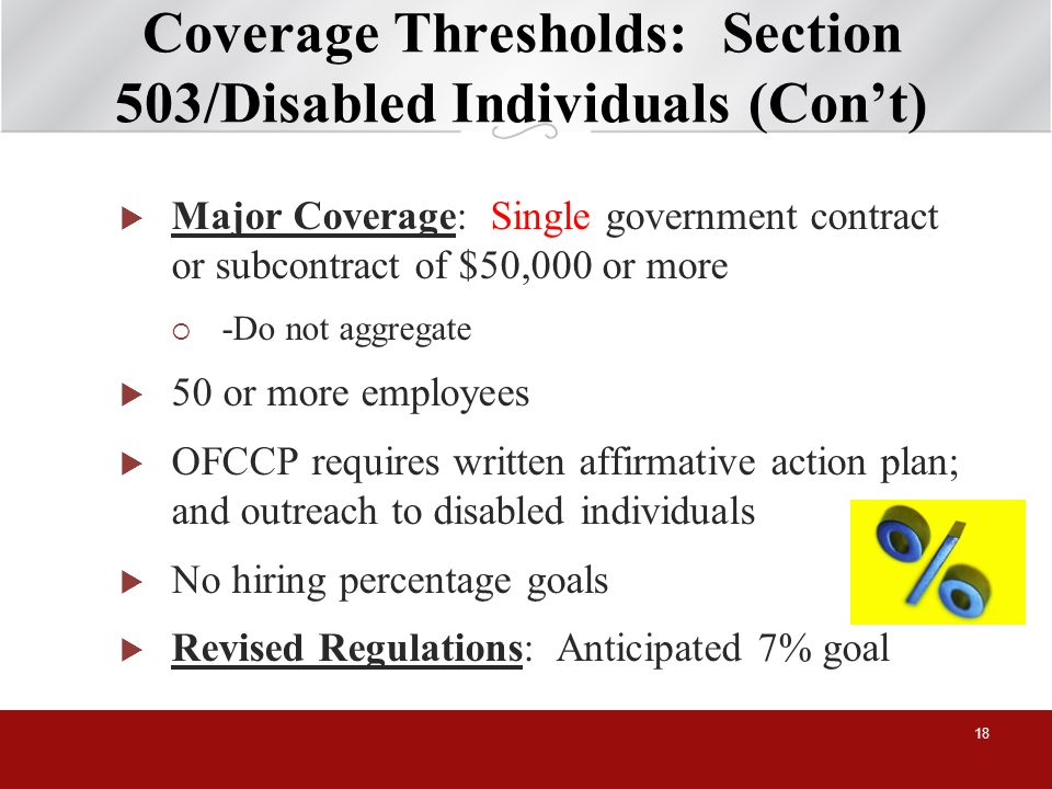 Coverage Thresholds: Section 503/Disabled Individuals (Cont) Major Coverage: Single government contract or subcontract of $50,000 or more -Do not aggregate 50 or more employees OFCCP requires written affirmative action plan; and outreach to disabled individuals No hiring percentage goals Revised Regulations: Anticipated 7% goal 18