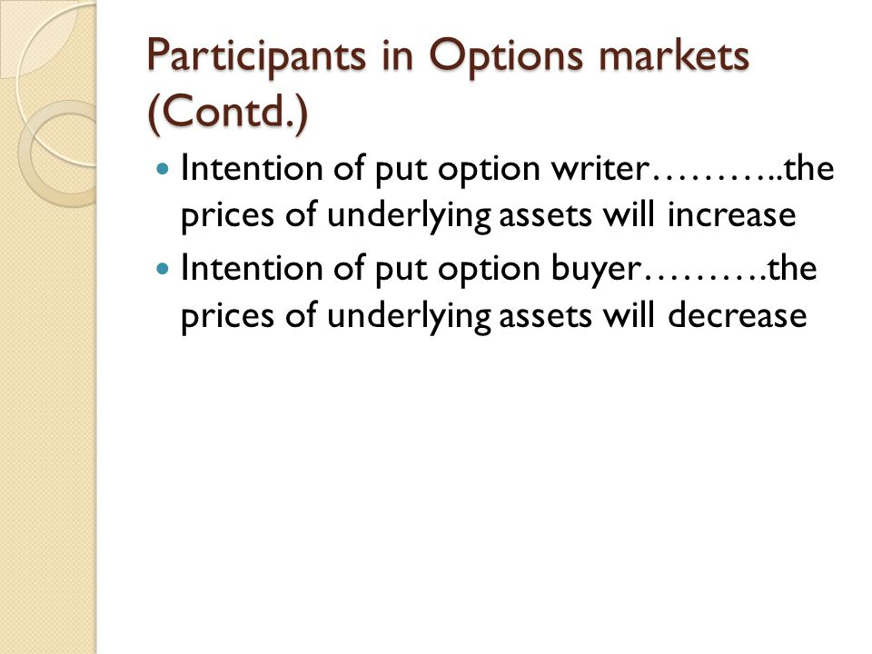 Participants in Options markets (Contd.) Intention of put option writer………..the prices of underlying assets will increase Intention of put option buyer……….the prices of underlying assets will decrease
