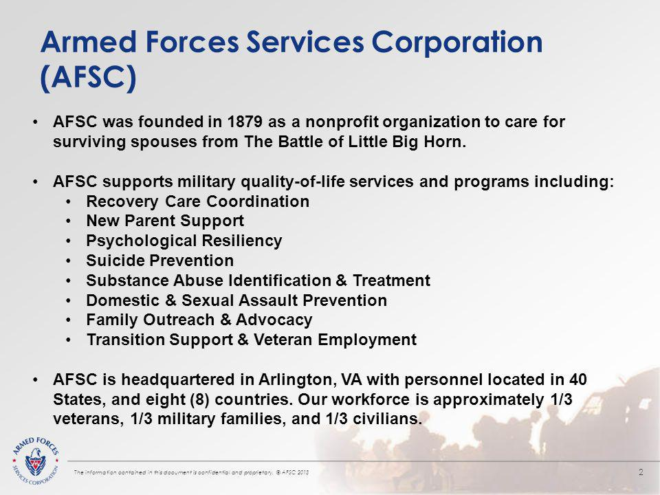 Armed Forces Services Corporation (AFSC) The information contained in this document is confidential and proprietary.