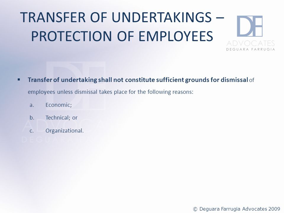 TRANSFER OF UNDERTAKINGS – PROTECTION OF EMPLOYEES Enforcement and non-compliance Any person contravening the provisions of the regulations shall be guilty of an offence and shall, on conviction, be liable to a fine of not less than 1,164.69 for every employee that is affected by the transfer.
