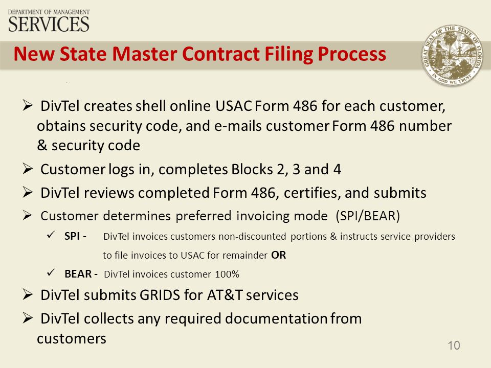 10 New State Master Contract Filing Process DivTel creates shell online USAC Form 486 for each customer, obtains security code, and e-mails customer Form 486 number & security code Customer logs in, completes Blocks 2, 3 and 4 DivTel reviews completed Form 486, certifies, and submits Customer determines preferred invoicing mode (SPI/BEAR) SPI - DivTel invoices customers non-discounted portions & instructs service providers to file invoices to USAC for remainder OR BEAR - DivTel invoices customer 100% DivTel submits GRIDS for AT&T services DivTel collects any required documentation from customers