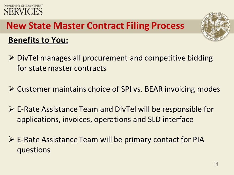 11 New State Master Contract Filing Process Benefits to You: DivTel manages all procurement and competitive bidding for state master contracts Customer maintains choice of SPI vs.