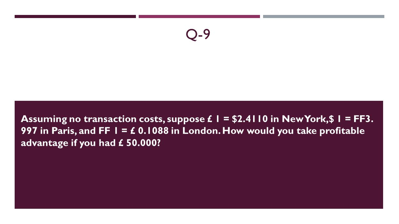 Q-9 Assuming no transaction costs, suppose £ 1 = $2.4110 in New York,$ 1 = FF3. 997 in Paris, and FF 1 = £ 0.1088 in London. How would you take profit