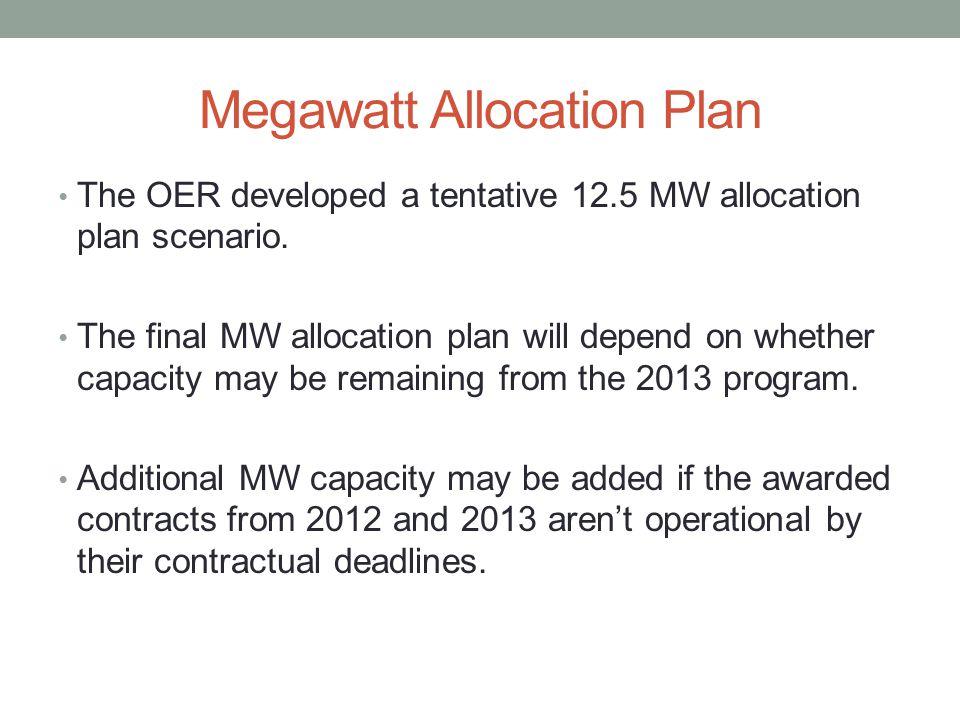 Megawatt Allocation Plan The OER developed a tentative 12.5 MW allocation plan scenario. The final MW allocation plan will depend on whether capacity