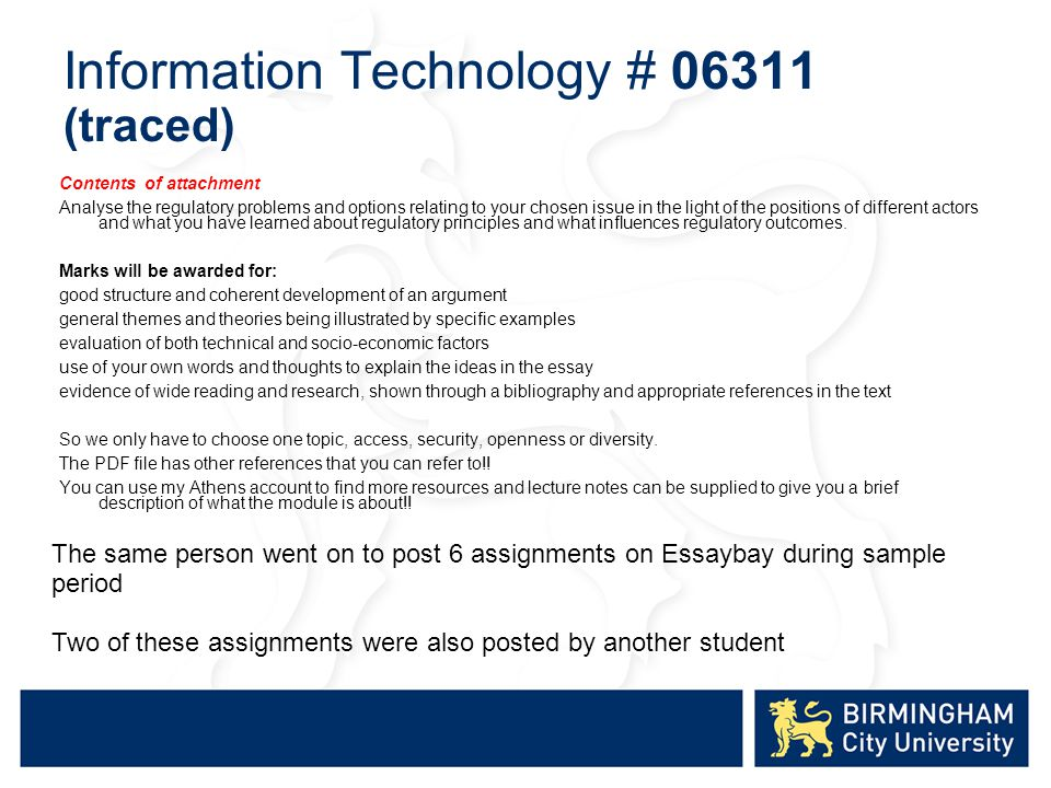 Information Technology # 06311 (traced) Contents of attachment Analyse the regulatory problems and options relating to your chosen issue in the light of the positions of different actors and what you have learned about regulatory principles and what influences regulatory outcomes.