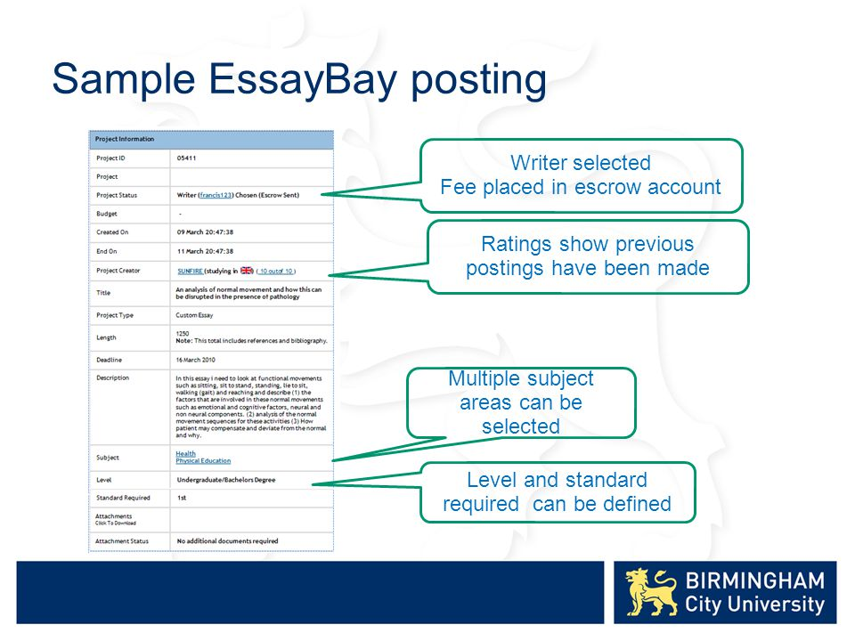 Sample EssayBay posting Writer selected Fee placed in escrow account Ratings show previous postings have been made Multiple subject areas can be selected Level and standard required can be defined
