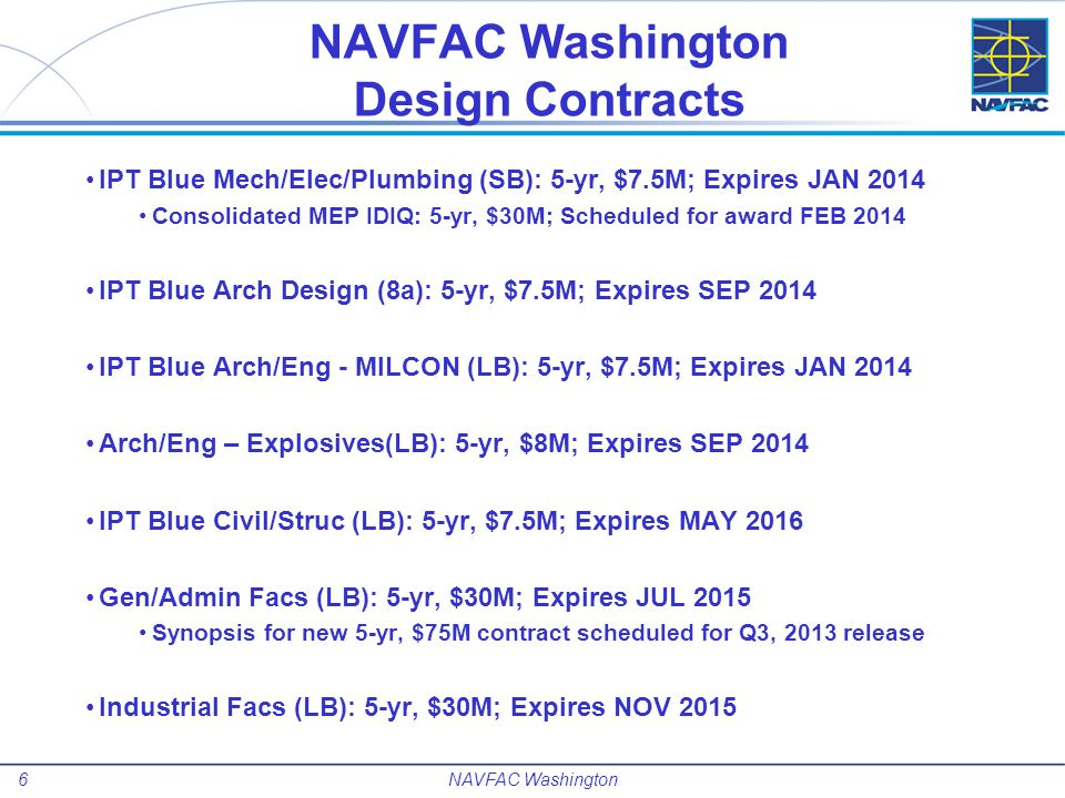 7 Multiple Award Construction Contracts Large Business MACC Five Contracts.