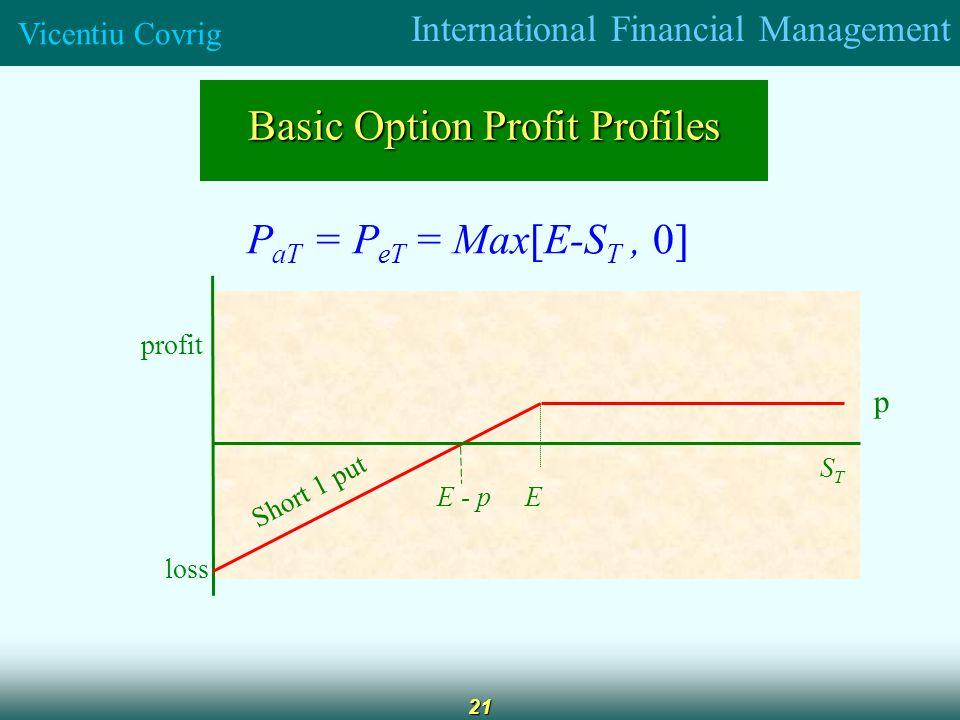 International Financial Management Vicentiu Covrig 21 Basic Option Profit Profiles P aT = P eT = Max[E-S T, 0] profit loss E STST Short 1 put E - p p