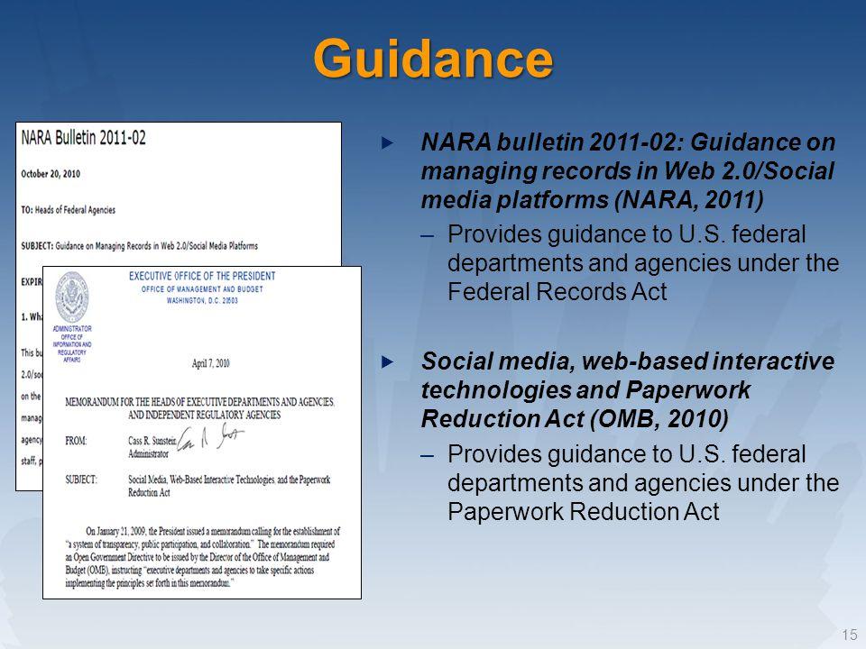 Guidance NARA bulletin 2011-02: Guidance on managing records in Web 2.0/Social media platforms (NARA, 2011) –Provides guidance to U.S.