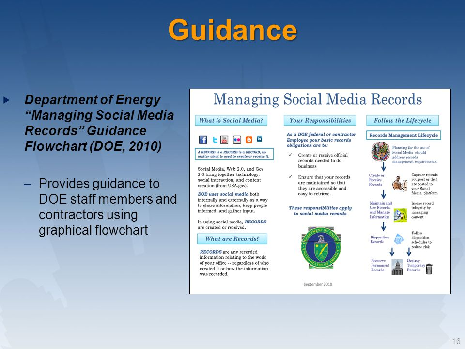 Department of Energy Managing Social Media Records Guidance Flowchart (DOE, 2010) –Provides guidance to DOE staff members and contractors using graphical flowchart 16Guidance
