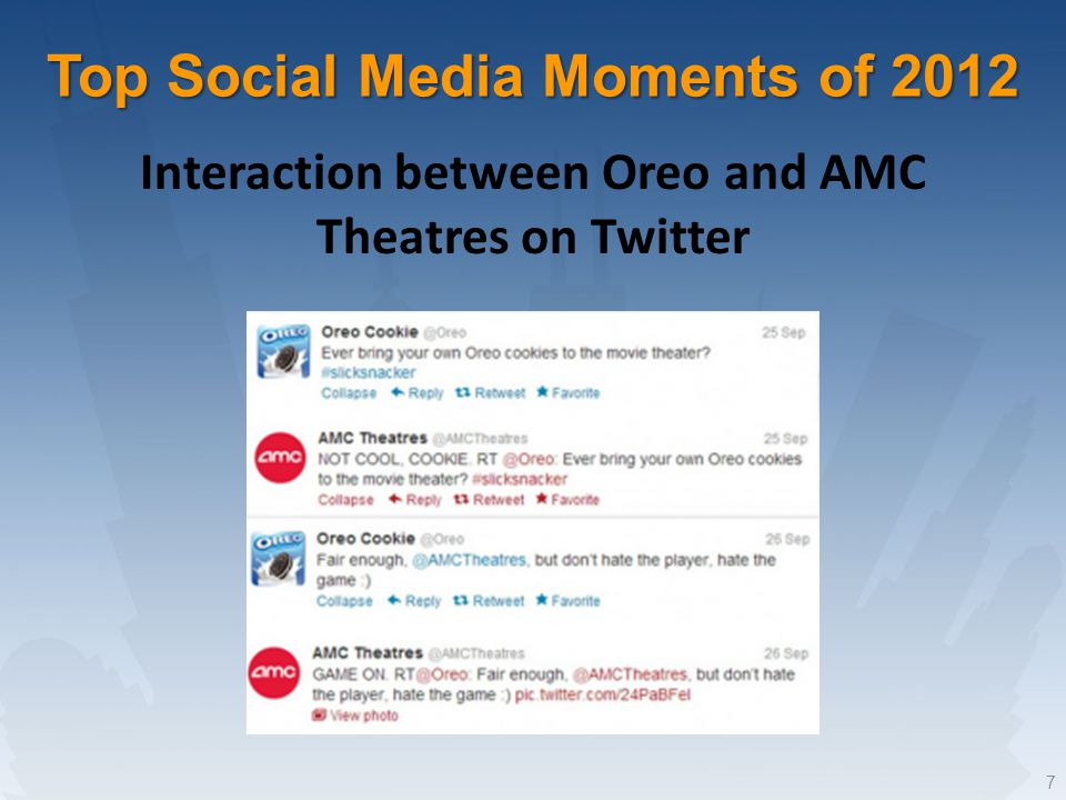 7 Interaction between Oreo and AMC Theatres on Twitter Top Social Media Moments of 2012