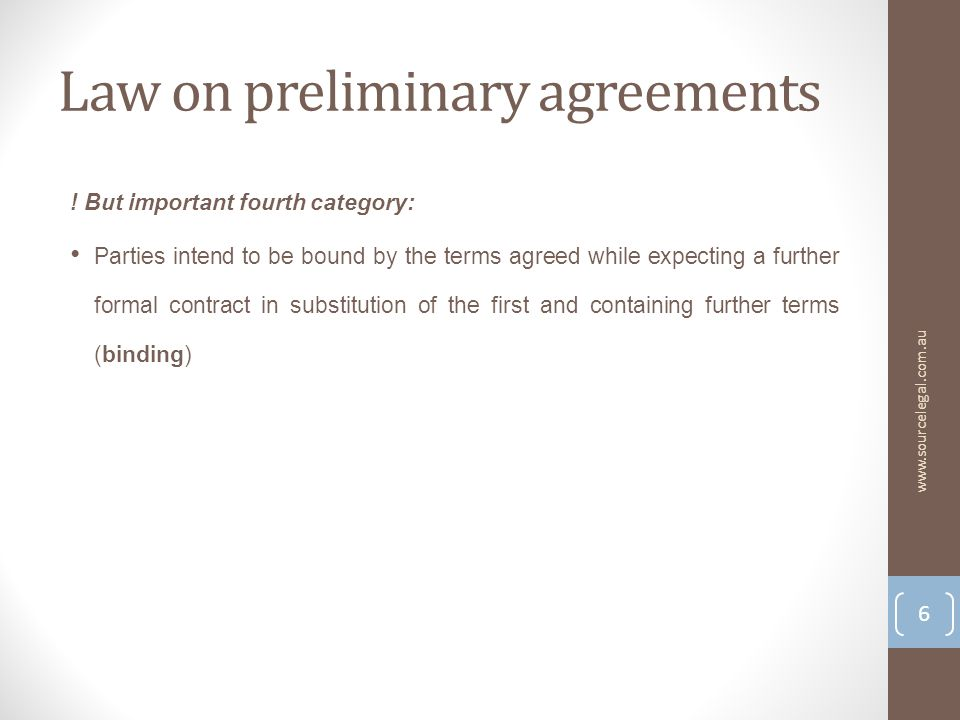 Law on preliminary agreements .