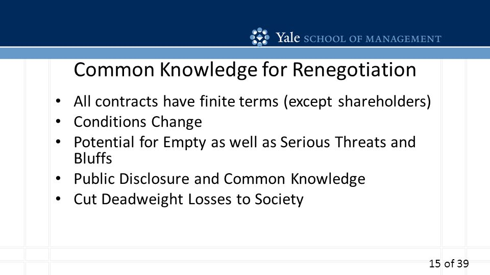 Common Knowledge for Renegotiation All contracts have finite terms (except shareholders) Conditions Change Potential for Empty as well as Serious Threats and Bluffs Public Disclosure and Common Knowledge Cut Deadweight Losses to Society 15 of 39