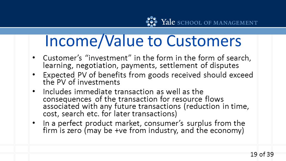 Income/Value to Customers Customers investment in the form in the form of search, learning, negotiation, payments, settlement of disputes Expected PV