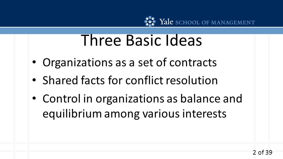 Three Basic Ideas Organizations as a set of contracts Shared facts for conflict resolution Control in organizations as balance and equilibrium among various interests 2 of 39