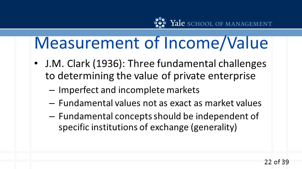 Measurement of Income/Value J.M. Clark (1936): Three fundamental challenges to determining the value of private enterprise – Imperfect and incomplete