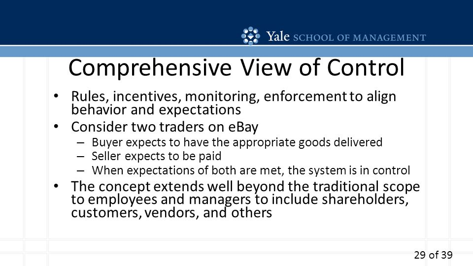 Comprehensive View of Control Rules, incentives, monitoring, enforcement to align behavior and expectations Consider two traders on eBay – Buyer expects to have the appropriate goods delivered – Seller expects to be paid – When expectations of both are met, the system is in control The concept extends well beyond the traditional scope to employees and managers to include shareholders, customers, vendors, and others 29 of 39