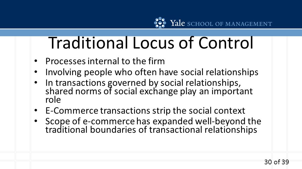 Traditional Locus of Control Processes internal to the firm Involving people who often have social relationships In transactions governed by social relationships, shared norms of social exchange play an important role E-Commerce transactions strip the social context Scope of e-commerce has expanded well-beyond the traditional boundaries of transactional relationships 30 of 39