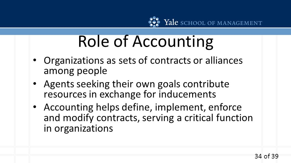Role of Accounting Organizations as sets of contracts or alliances among people Agents seeking their own goals contribute resources in exchange for inducements Accounting helps define, implement, enforce and modify contracts, serving a critical function in organizations 34 of 39