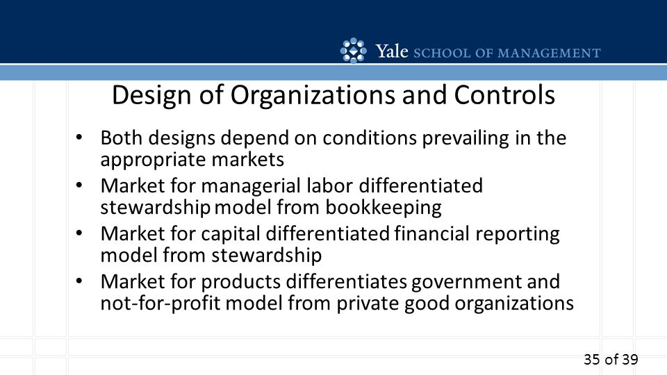 Design of Organizations and Controls Both designs depend on conditions prevailing in the appropriate markets Market for managerial labor differentiated stewardship model from bookkeeping Market for capital differentiated financial reporting model from stewardship Market for products differentiates government and not-for-profit model from private good organizations 35 of 39