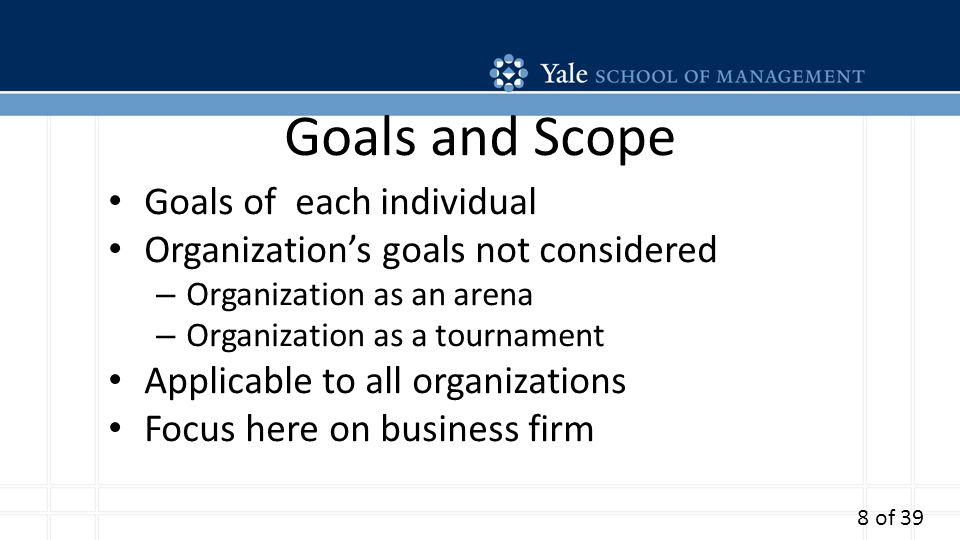 Goals and Scope Goals of each individual Organizations goals not considered – Organization as an arena – Organization as a tournament Applicable to all organizations Focus here on business firm 8 of 39