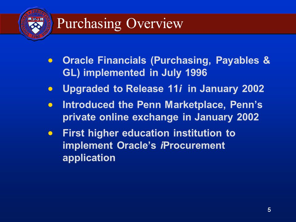 5 Purchasing Overview Oracle Financials (Purchasing, Payables & GL) implemented in July 1996 Upgraded to Release 11i in January 2002 Introduced the Penn Marketplace, Penns private online exchange in January 2002 First higher education institution to implement Oracles iProcurement application