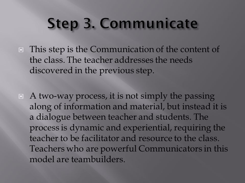 This step is the Communication of the content of the class. The teacher addresses the needs discovered in the previous step. A two-way process, it is