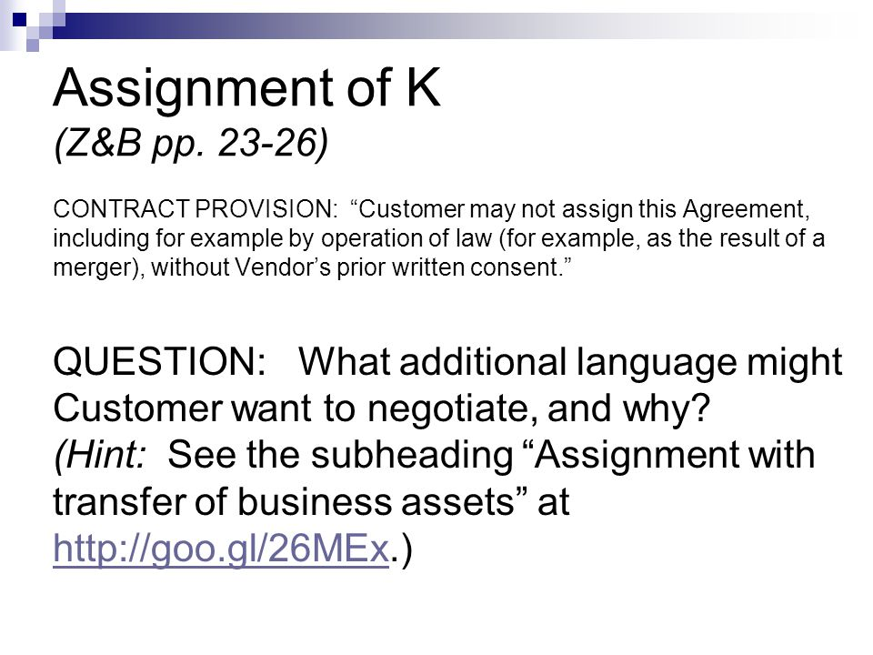 Assignment of K (Z&B pp.