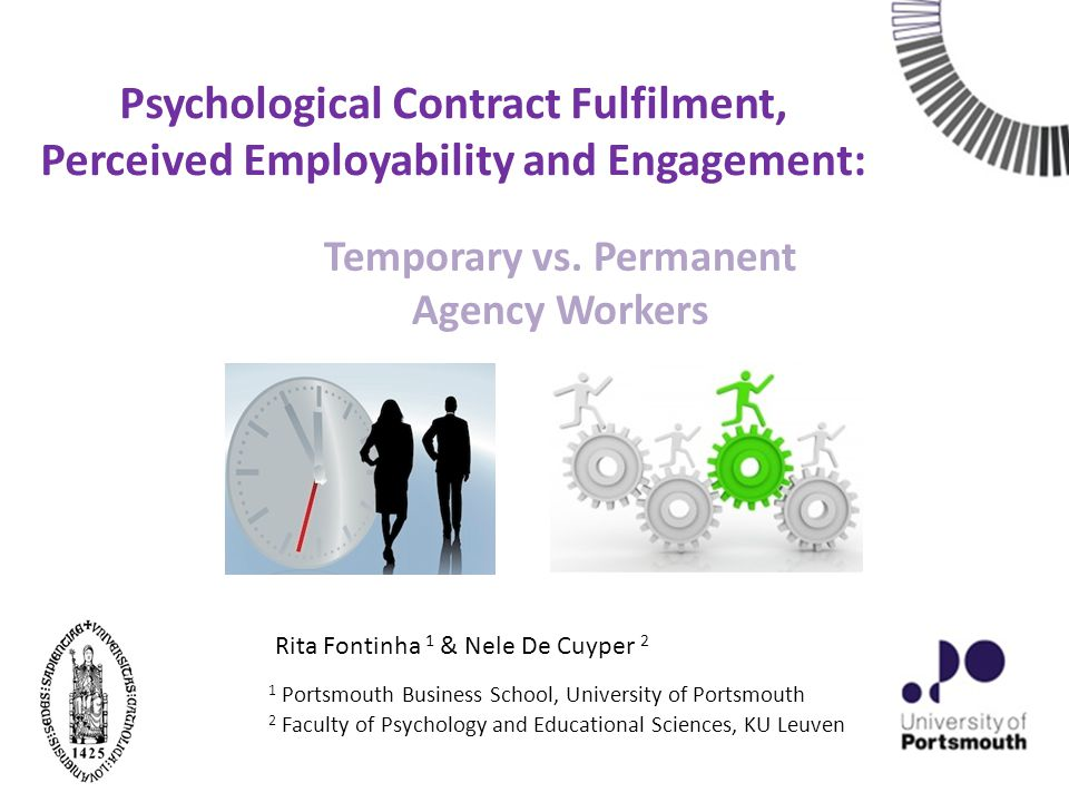 Previous Research on Temporary Work Research on temporary work usually focuses on comparisons between: Directly-Hired Temporary and Permanent Workers (see De Cuyper et al., 2008a, for a review; Konrad et al., 2013) Temporary Agency Workers and Directly-Hired Permanent Workers (De Cuyper et al., 2008b; Chambel & Castanheira, 2006; Guest et al., 2003; Klein Hesselink et al., 1998; Wilkin, 2013) We will now focus on Temporary Agency Work and compare it to a relatively under investigated type of contingent work: Permanent Agency Work (exception Svensson & Wolvén, 2010).