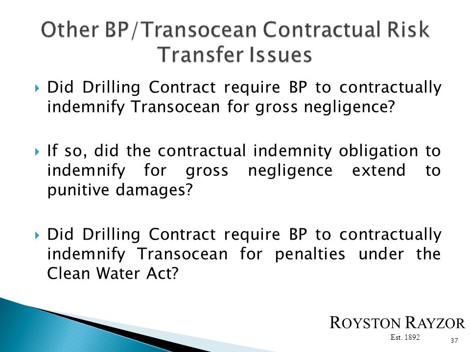 Did Drilling Contract require BP to contractually indemnify Transocean for gross negligence.