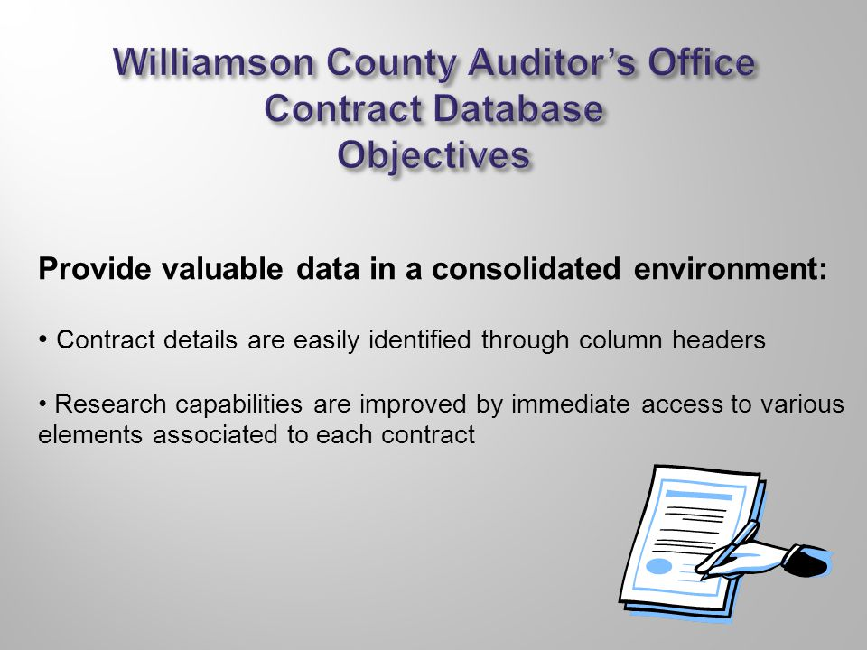 Provide valuable data in a consolidated environment: Contract details are easily identified through column headers Research capabilities are improved by immediate access to various elements associated to each contract