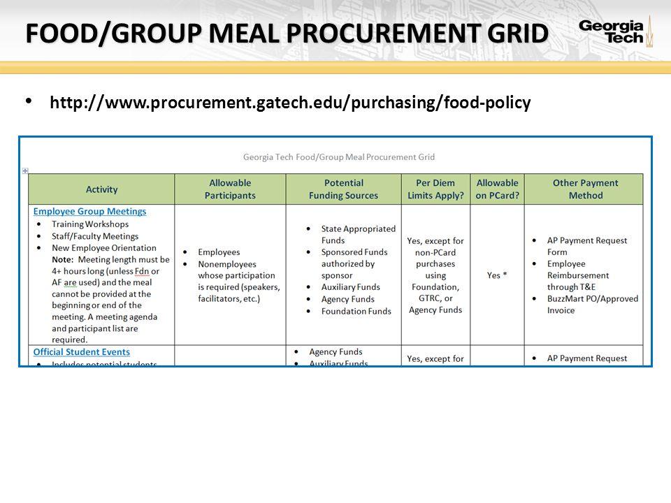 FOOD/GROUP MEAL PROCUREMENT GRID http://www.procurement.gatech.edu/purchasing/food-policy