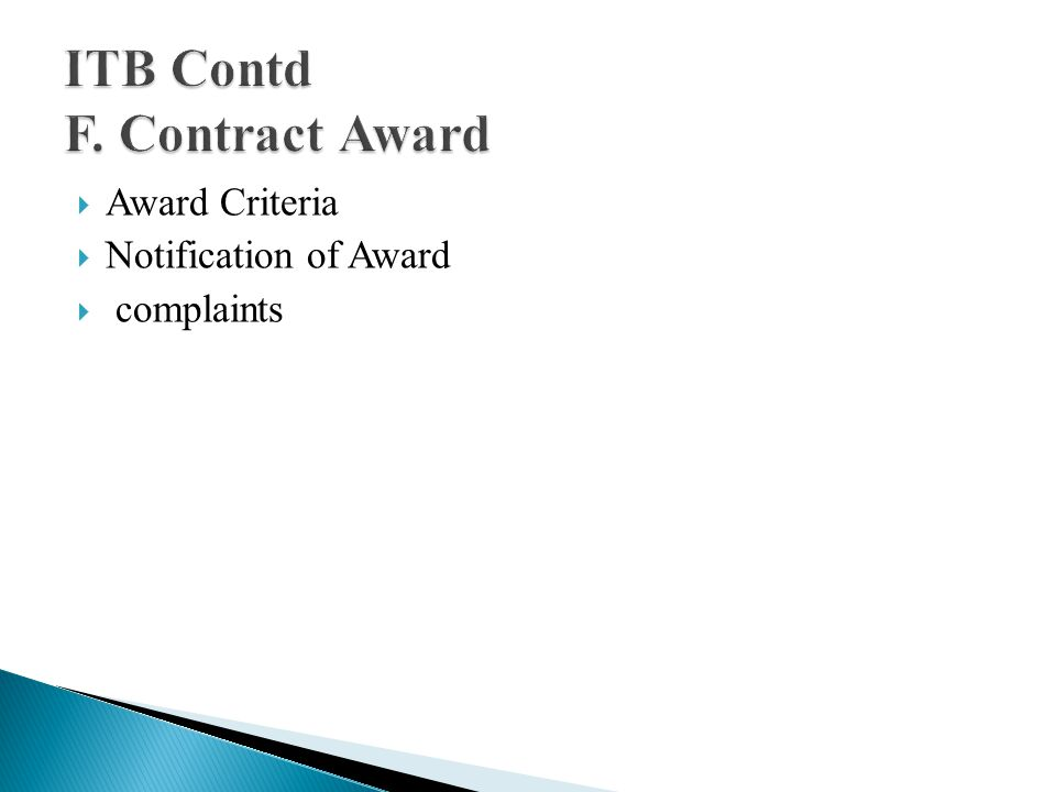 Award Criteria Notification of Award complaints