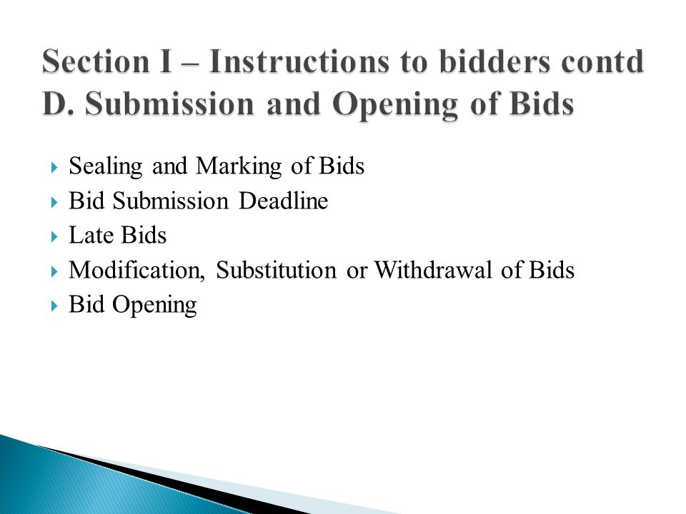 Confidentiality Clarification (arithmetical, not change of price or substance) Bidder: Contacting the Employer Determination of Responsiveness (material deviation, reservation & omission) Non Conformities, Errors and Omissions Evaluation and Comparison of Tenders (no.