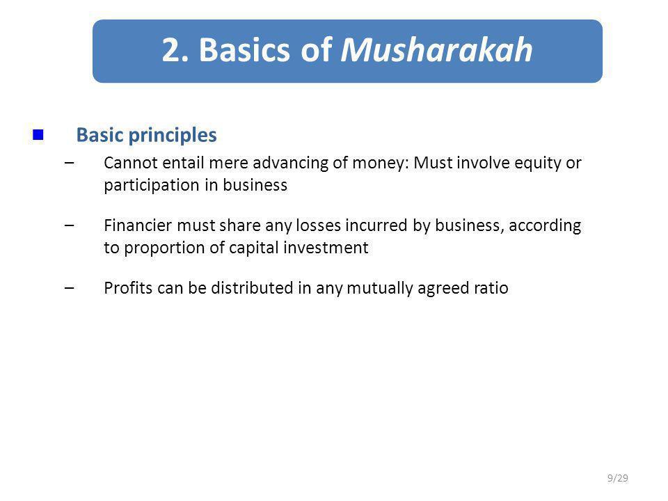 Musharakah-Mudarabah Compared 10/29 CharacteristicsMusharakahMudarabah 1.
