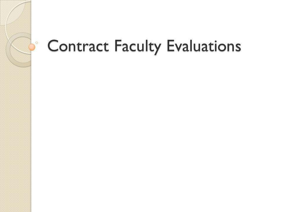 Contract Faculty Evaluations