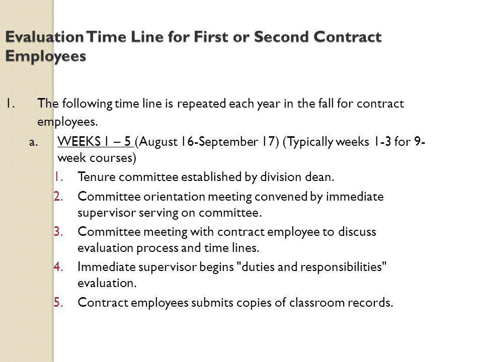 Evaluation Time Line for First or Second Contract Employees 1.The following time line is repeated each year in the fall for contract employees. a.WEEK