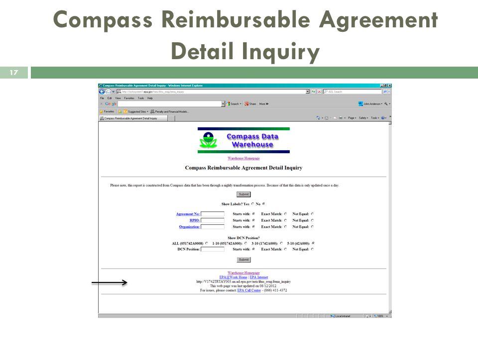 Compass Reimbursable Agreement Detail Inquiry 17